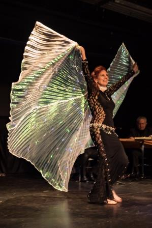 Belly dance with lighted winged veil in Mill Valley by Dhyanis